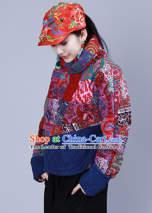 Traditional Chinese National Embroidered Phoenix Crafts Headgear, China National Minority Handmade Embroidered Red Cap for Women