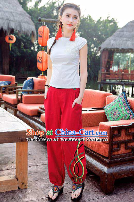 Traditional Ancient Chinese National Costume Plus Fours, Elegant Hanfu Embroidered Pants, China Tang Suit Cotton Bloomers Red Trousers for Women