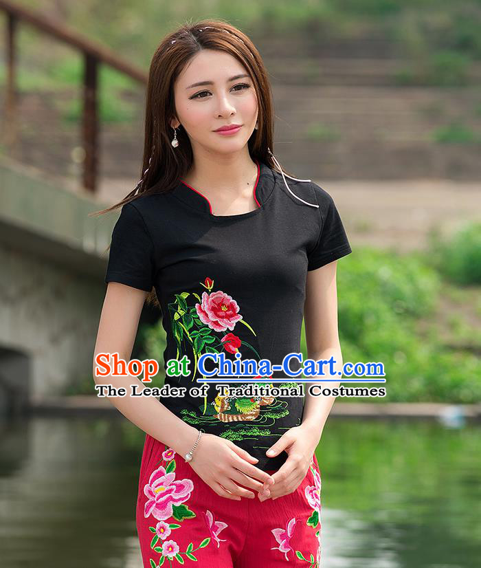 Traditional Ancient Chinese National Costume, Elegant Hanfu Round Collar T-Shirt, China Tang Suit Embroidered Mandarin Duck Peony Black Blouse Cheongsam Upper Outer Garment Shirts Clothing for Women