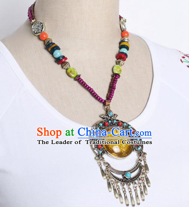 Traditional Chinese Miao Nationality Crafts, Hmong Handmade Tassel Pendant, Miao Ethnic Minority Necklace Accessories Pendant for Women