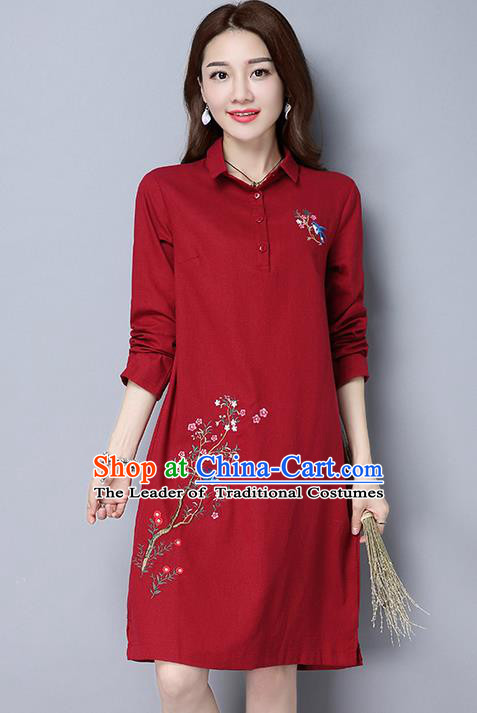 Traditional Ancient Chinese National Costume, Elegant Hanfu Hand Embroidered Dress, China Tang Suit Embroidered Cheongsam Upper Outer Garment Elegant Red Dress Clothing for Women