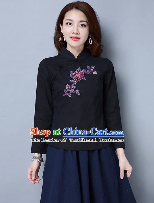 Traditional Ancient Chinese National Costume, Elegant Hanfu Embroidered Plated Buttons Shirt, China Tang Suit Embroidered Peony Black Blouse Cheongsam Upper Outer Garment Qipao Shirts Clothing for Women