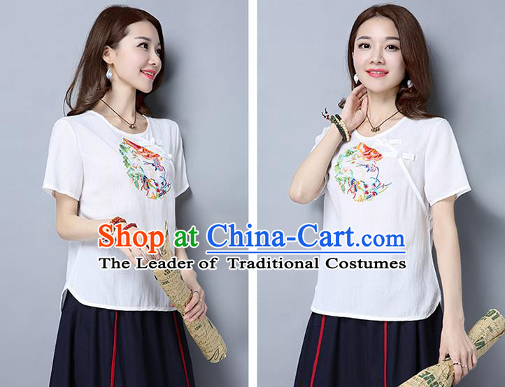 Traditional Ancient Chinese National Costume, Elegant Hanfu Short Sleeve Plated Buttons T-Shirt, China Tang Suit Embroidered White Blouse Cheongsam Upper Outer Garment Shirts Clothing for Women