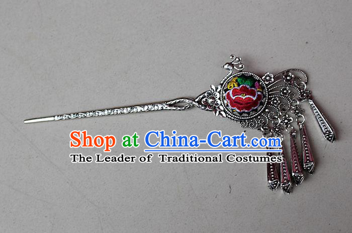Traditional Chinese Miao Nationality Crafts Jewelry Accessory Classical Hair Accessories, Hmong Handmade Miao Silver Phoenix Palace Lady Tassel Embroidery Hair Sticks Hair Claw, Miao Ethnic Minority Hair Fascinators Hairpins for Women