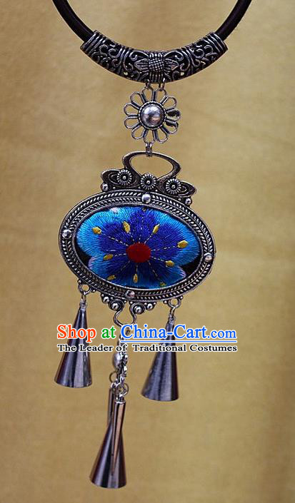 Traditional Chinese Miao Nationality Crafts Jewelry Accessory, Hmong Handmade Miao Silver Bells Tassel Embroidery Pendant, Miao Ethnic Minority Bells Necklace Accessories Sweater Chain Pendant for Women
