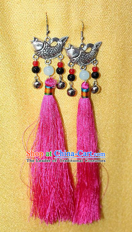 Traditional Chinese Miao Nationality Crafts Jewelry Accessory Classical Earbob Accessories, Hmong Handmade Miao Silver Fish Palace Lady Pink Silk Tassel Earrings, Miao Ethnic Minority Eardrop for Women