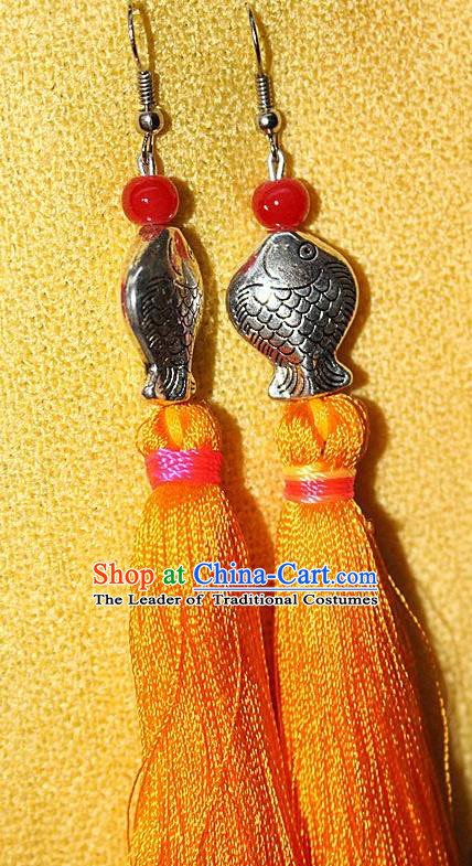 Traditional Chinese Miao Nationality Crafts Jewelry Accessory Classical Earbob Accessories, Hmong Handmade Miao Silver Kiss Fish Palace Lady Yellow Silk Tassel Earrings, Miao Ethnic Minority Eardrop for Women