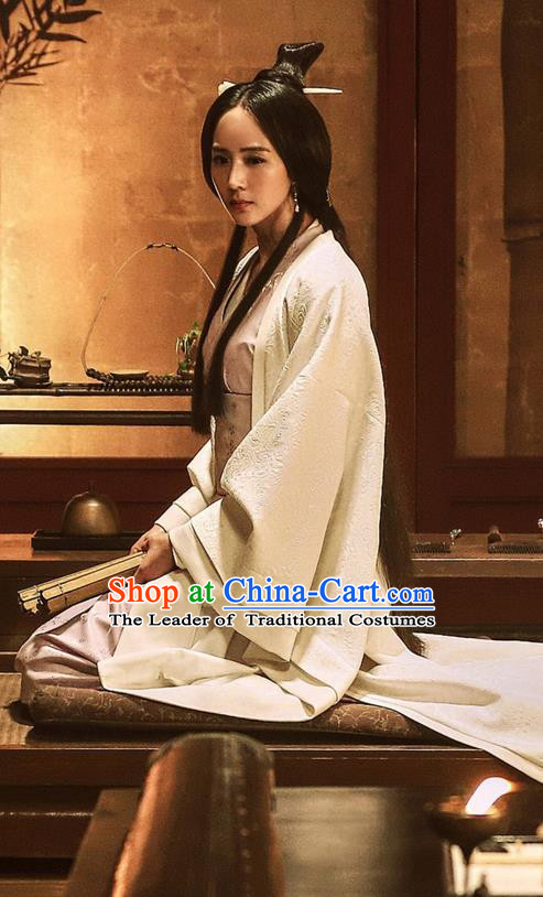 Traditional Ancient Chinese Imperial Consort Costume, Elegant Hanfu Clothing Chinese Three Kingdoms Dynasty Imperial Princess Tailing Embroidered Clothing for Women