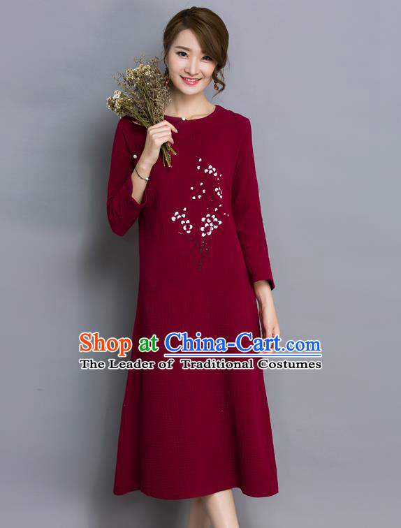 Traditional Ancient Chinese National Costume, Elegant Hanfu Printing Flowers Linen Qipao Dress, China Tang Suit Wine Red Cheongsam Skirt Upper Outer Garment Elegant Dress Clothing for Women