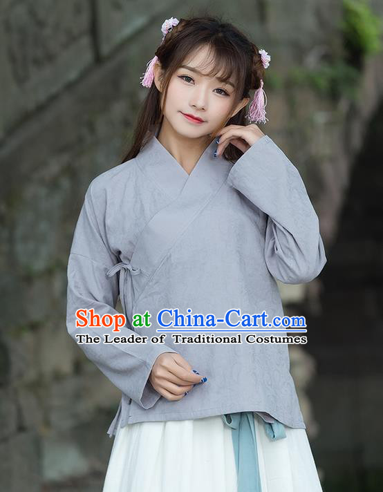 Traditional Ancient Chinese National Costume, Elegant Hanfu Linen Grey Shirt, China Ming Dynasty Tang Suit Blouse Cheongsam Qipao Shirts Clothing for Women