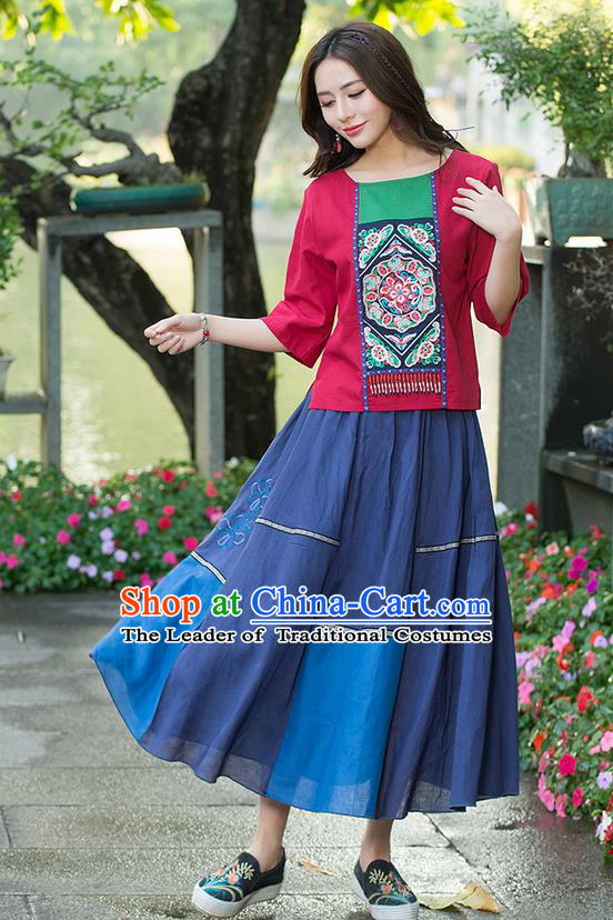 Traditional Chinese National Costume, Elegant Hanfu Embroidered Round Collar T-Shirt, China Ethnic Minority Tang Suit Blouse Cheongsam Qipao Shirts Clothing for Women