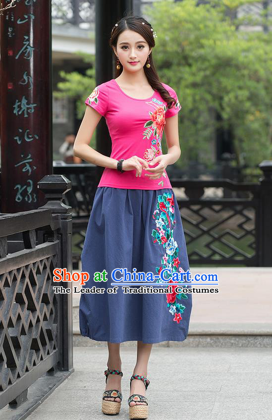 Traditional Ancient Chinese National Costume, Elegant Hanfu Embroidered Peony Pink T-Shirt, China Tang Suit Blouse Cheongsam Qipao Shirts Clothing for Women