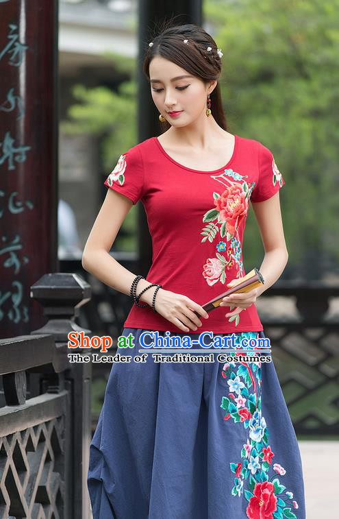 Traditional Ancient Chinese National Costume, Elegant Hanfu Embroidered Peony Red T-Shirt, China Tang Suit Blouse Cheongsam Qipao Shirts Clothing for Women