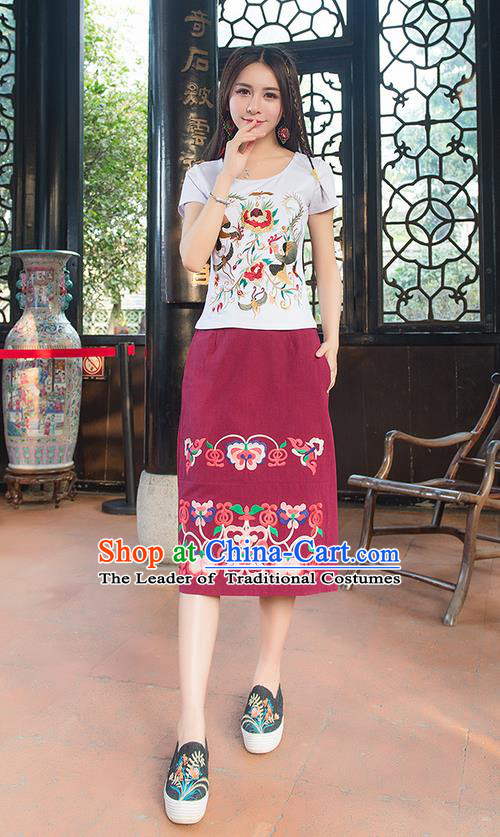 55dec5d29 Traditional Chinese National Costume, Elegant Hanfu Embroidery Phoenix  Totem White T-Shirt, China Tang Suit Blouse Cheongsam Upper Outer Garment  Qipao ...