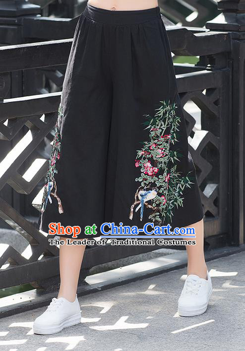 Traditional Chinese National Costume Pantskirt, Elegant Hanfu Embroidered Black Loose Pants, China Ethnic Minorities Tang Suit Ultra-Wide-Leg Trousers for Women