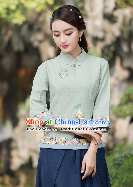 Traditional Ancient Chinese National Costume, Elegant Hanfu Linen Embroidered Green Shirt, China Tang Suit Mandarin Collar Blouse Cheongsam Qipao Shirts Clothing for Women