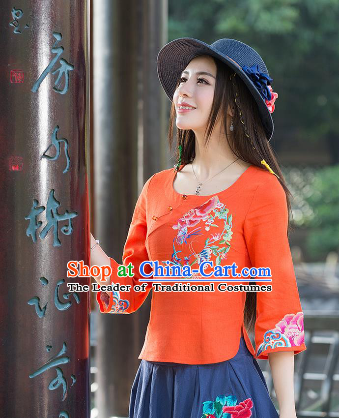 Traditional Ancient Chinese National Costume, Elegant Hanfu Linen Delicacy Embroidered Orange T-Shirt, China Tang Suit Mandarin Collar Blouse Cheongsam Qipao Shirts Clothing for Women