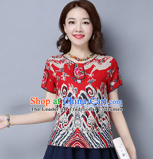 Traditional Ancient Chinese National Costume, Elegant Hanfu Linen Embroidered Red T-Shirt, China Tang Suit Blouse Cheongsam Qipao Shirts Clothing for Women