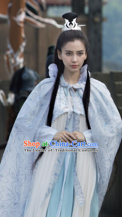 Traditional Ancient Chinese Elegant Female Swordsman Cape Costume, Chinese Warring States Period Dynasty Imperial Princess Fairy Cloak Dress, Cosplay Princess Chinese Nobility Hanfu Embroidered Mantle Clothing for Women