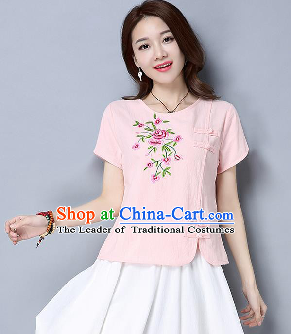 Traditional Chinese National Costume, Elegant Hanfu Embroidery Flowers Slant Opening Pink T-Shirt, China Tang Suit Republic of China Plated Buttons Blouse Cheongsam Upper Outer Garment Qipao Shirts Clothing for Women