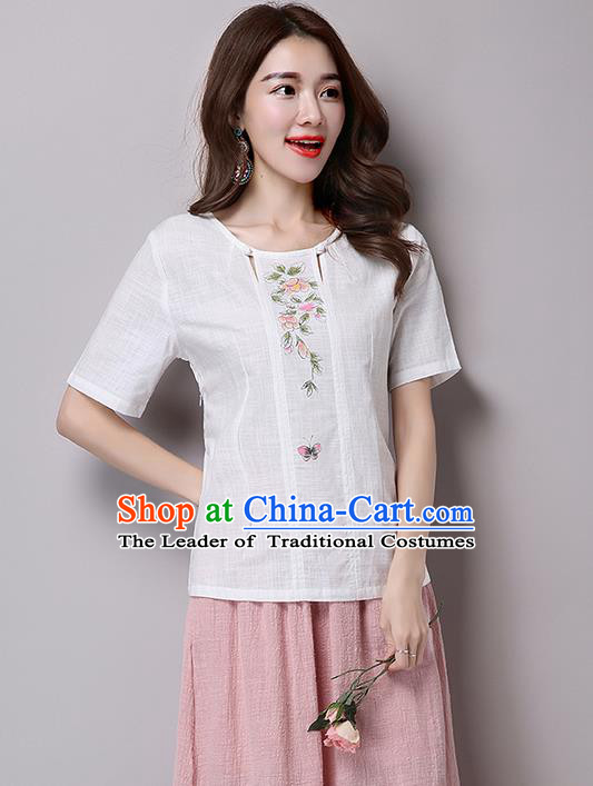 Traditional Chinese National Costume, Elegant Hanfu Embroidery Flowers T-Shirt, China Tang Suit Republic of China Blouse Cheongsam Upper Outer Garment Qipao Shirts Clothing for Women