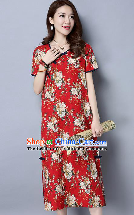 Traditional Ancient Chinese National Costume, Elegant Hanfu Dress, China Tang Suit Chirpaur Republic of China Cheongsam Upper Outer Garment Elegant Dress Clothing for Women