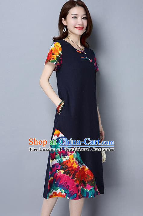Traditional Ancient Chinese National Costume, Elegant Hanfu Mandarin Qipao Printing Navy Dress, China Tang Suit Chirpaur Republic of China Cheongsam Upper Outer Garment Elegant Dress Clothing for Women