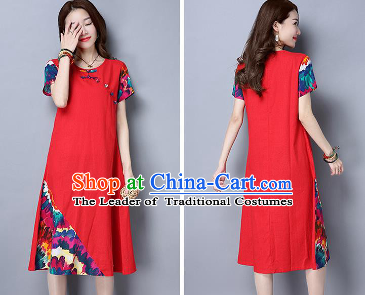 Traditional Ancient Chinese National Costume, Elegant Hanfu Mandarin Qipao Printing Red Dress, China Tang Suit Chirpaur Republic of China Cheongsam Upper Outer Garment Elegant Dress Clothing for Women