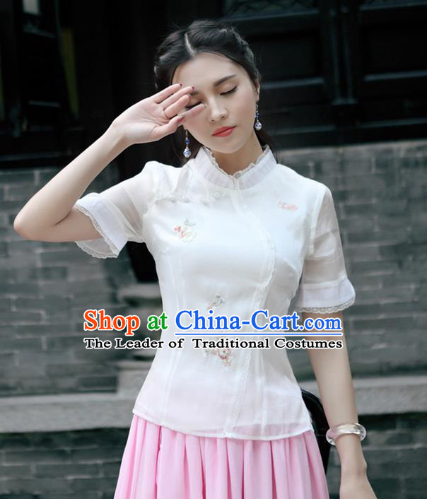 Traditional Chinese National Costume, Elegant Hanfu Embroidery Flowers Stand Collar Shirt, China Tang Suit Republic of China Plated Buttons Blouse Cheongsam Upper Outer Garment Qipao Shirts Clothing for Women