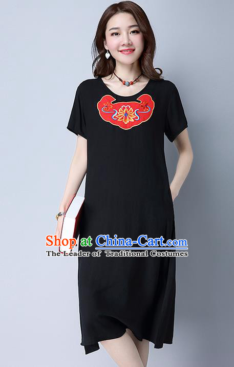 Traditional Ancient Chinese National Costume, Elegant Hanfu Mandarin Qipao Linen Patch Embroidery Black Dress, China Tang Suit Chirpaur Republic of China Cheongsam Upper Outer Garment Elegant Dress Clothing for Women