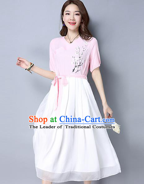 Traditional Ancient Chinese National Costume, Elegant Hanfu Embroidery Pink Dress, China Tang Suit Republic of China Upper Outer Garment Elegant Dress Clothing for Women