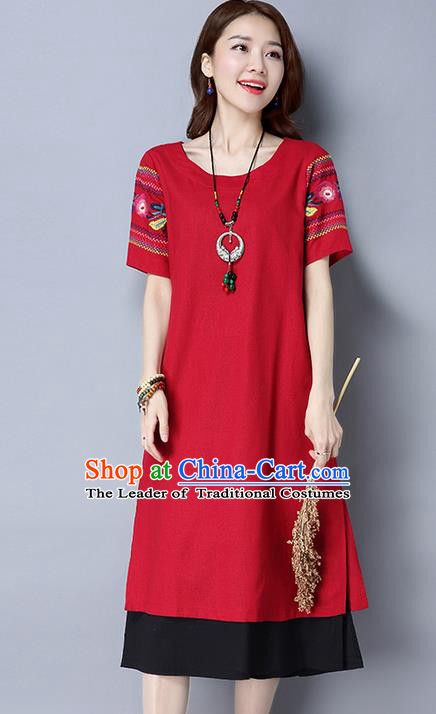 Traditional Ancient Chinese National Costume, Elegant Hanfu Embroidery Red Dress, China Tang Suit Cheongsam Upper Outer Garment Elegant Dress Clothing for Women