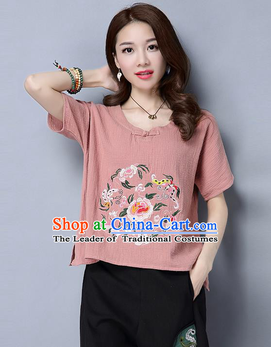 Traditional Chinese National Costume, Elegant Hanfu Embroidery Flowers Pink T-Shirt, China Tang Suit Republic of China Plated Buttons Blouse Cheongsam Upper Outer Garment Qipao Shirts Clothing for Women