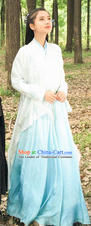 Traditional Ancient Chinese Elegant Female Swordsman Costume, Chinese Warring States Period Imperial Princess Fairy Dress, Cosplay Princess Chinese Nobility Hanfu Clothing for Women