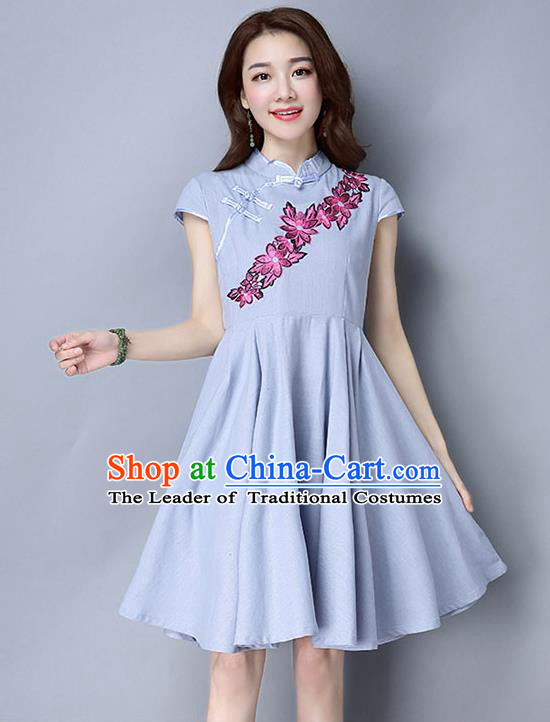 Traditional Ancient Chinese National Costume, Elegant Hanfu Mandarin Qipao Embroidery Blue Dress, China Tang Suit Chirpaur Republic of China Cheongsam Upper Outer Garment Elegant Dress Clothing for Women