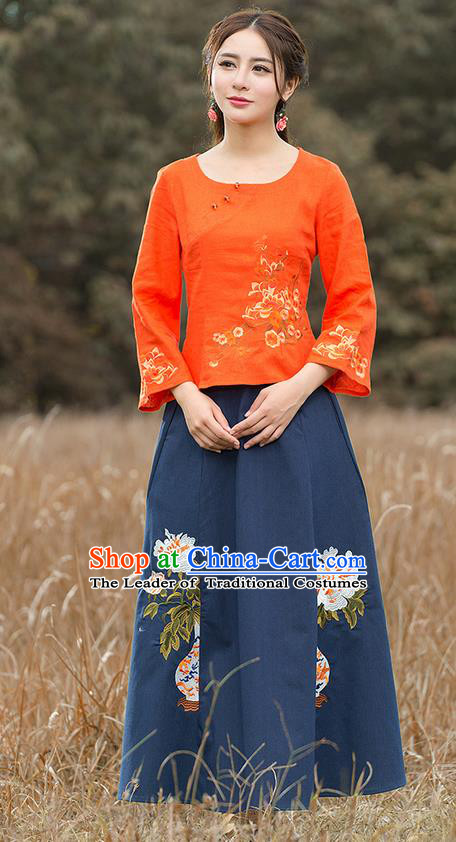 Traditional Chinese National Costume, Elegant Hanfu Embroidery Mandarin Sleeve Orange Shirt, China Tang Suit Republic of China Blouse Cheongsam Upper Outer Garment Qipao Shirts Clothing for Women