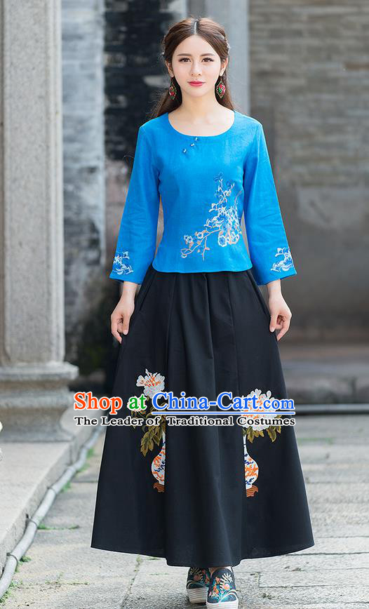 Traditional Chinese National Costume, Elegant Hanfu Embroidery Mandarin Sleeve Blue Shirt, China Tang Suit Republic of China Blouse Cheongsam Upper Outer Garment Qipao Shirts Clothing for Women