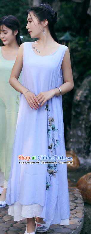 Traditional Ancient Chinese National Costume, Elegant Hanfu Painting Flowers Purple Long Dress, China Tang Suit Chirpaur Republic of China Cheongsam Upper Outer Garment Elegant Dress Clothing for Women
