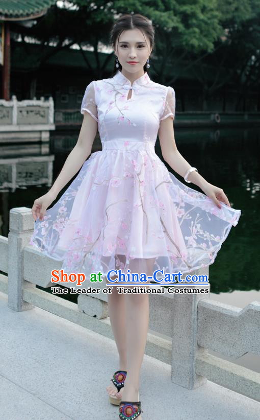 Traditional Ancient Chinese National Costume, Elegant Hanfu Mandarin Qipao Organza Pink Bubble Dress, China Tang Suit Chirpaur Republic of China Cheongsam Upper Outer Garment Elegant Dress Clothing for Women