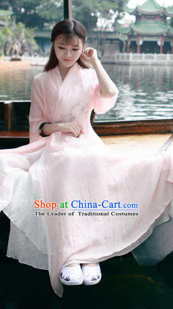 Traditional Ancient Chinese National Costume, Elegant Hanfu Mandarin Qipao Linen Pink Printing Dress, China Tang Suit Chirpaur Republic of China Cheongsam Upper Outer Garment Elegant Dress Clothing for Women