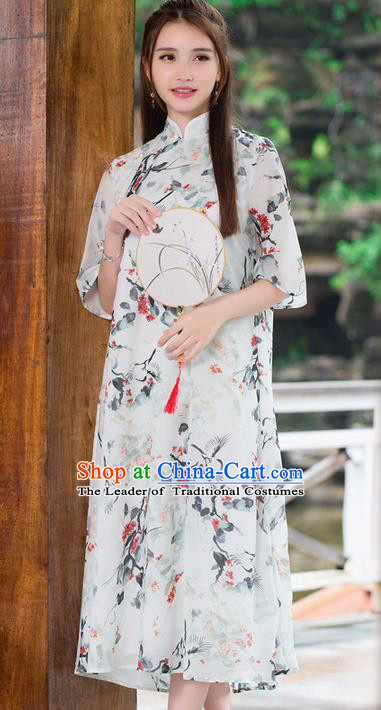 Traditional Ancient Chinese National Costume, Elegant Hanfu Mandarin Qipao Slant Opening Printing Dress, China Tang Suit Chirpaur Republic of China Cheongsam Upper Outer Garment Elegant Dress Clothing for Women