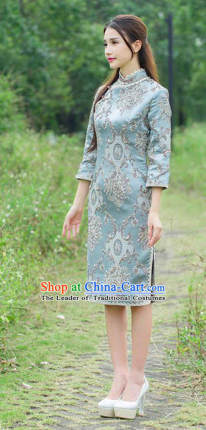 Traditional Ancient Chinese National Costume, Elegant Hanfu Mandarin Qipao Slant Opening Palace Embroidery Dress, China Tang Suit Chirpaur Republic of China Cheongsam Upper Outer Garment Elegant Dress Clothing for Women