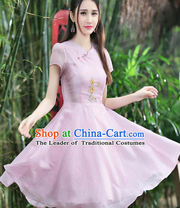 Traditional Ancient Chinese National Costume, Elegant Hanfu Mandarin Qipao Embroidery Pink Dress, China Tang Suit Chirpaur Republic of China Cheongsam Upper Outer Garment Elegant Dress Clothing for Women