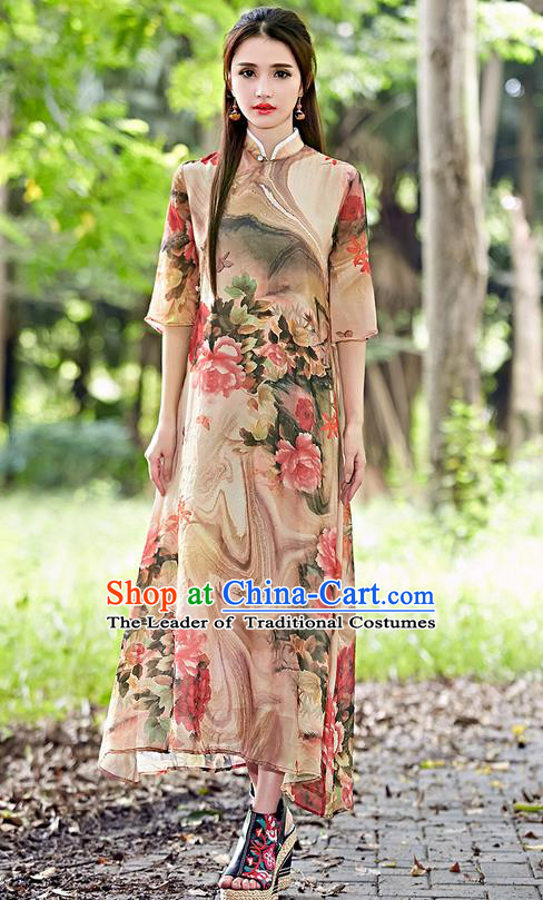 Traditional Ancient Chinese National Costume, Elegant Hanfu Mandarin Qipao Stand Collar Painting Red Dress, China Tang Suit Chirpaur Republic of China Cheongsam Upper Outer Garment Elegant Dress Clothing for Women