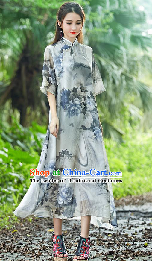 Traditional Ancient Chinese National Costume, Elegant Hanfu Mandarin Qipao Stand Collar Painting Grey Dress, China Tang Suit Chirpaur Republic of China Cheongsam Upper Outer Garment Elegant Dress Clothing for Women