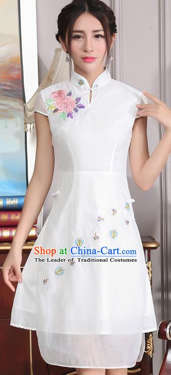 Traditional Ancient Chinese National Costume, Elegant Hanfu Mandarin Qipao Stand Collar Embroidery White Dress, China Tang Suit Chirpaur Republic of China Cheongsam Upper Outer Garment Elegant Dress Clothing for Women