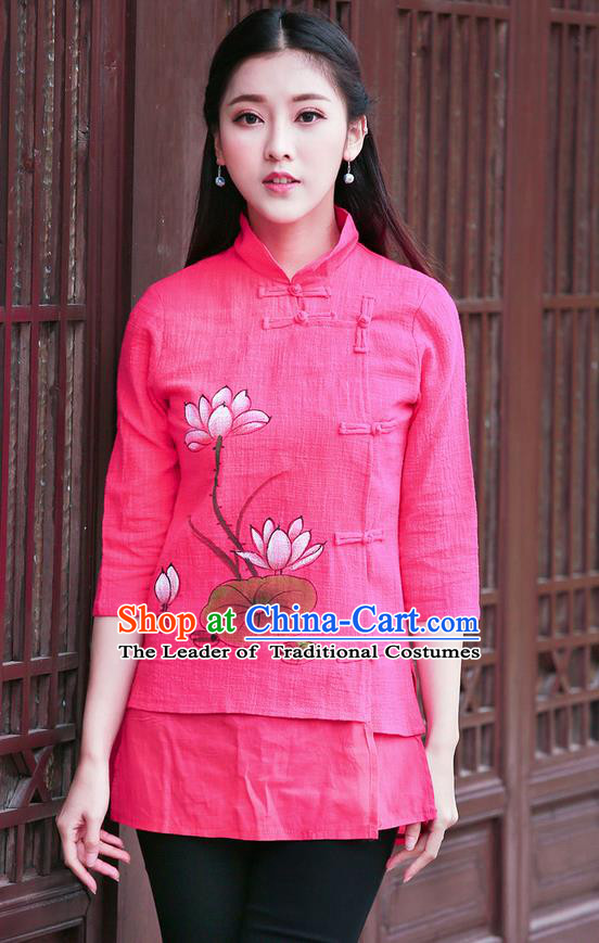 Traditional Chinese National Costume, Elegant Hanfu Painting Lotus Stand Collar Pink Shirt, China Tang Suit Republic of China Plated Buttons Blouse Cheongsam Upper Outer Garment Qipao Shirts Clothing for Women