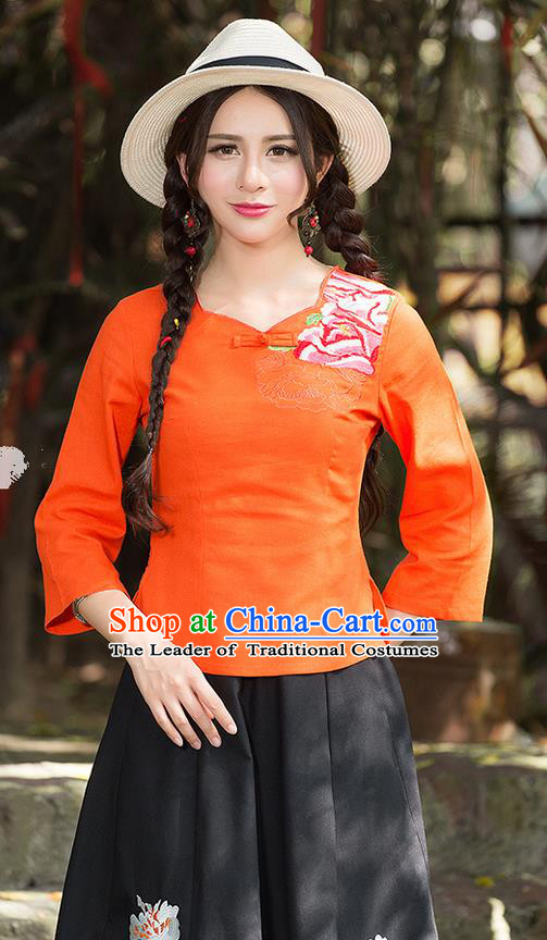 Traditional Chinese National Costume, Elegant Hanfu Embroidery Flowers Orange T-Shirt, China Tang Suit Republic of China Plated Buttons Blouse Cheongsam Upper Outer Garment Qipao Shirts Clothing for Women