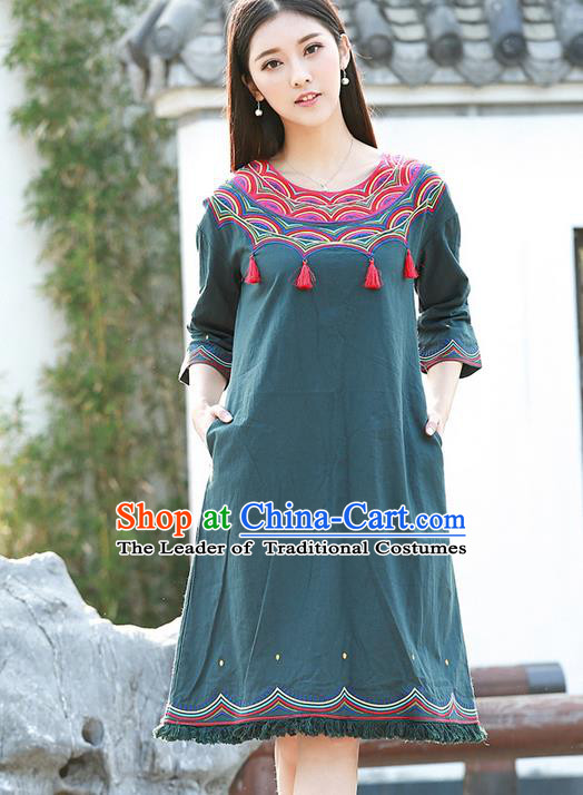 Traditional Ancient Chinese National Costume, Elegant Hanfu Embroidery Tassel Dress, China Tang Suit Chirpaur Republic of China Cheongsam Upper Outer Garment Elegant Dress Clothing for Women