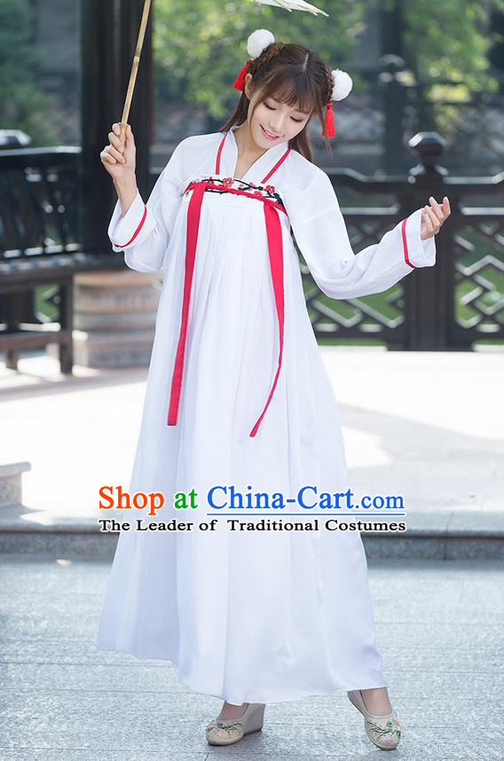 Traditional Ancient Chinese National Costume, Elegant Hanfu Embroidery Plum Blossom Blouse and Dress, China Tang Dynasty Upper Outer Garment Elegant Dress Clothing for Women